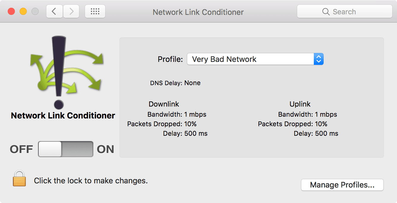 Network Line Conditioner in system prefs