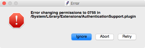 Error changing permissions in 0755 in /System/Library/Extensions/AuthenticationSupport.plugin