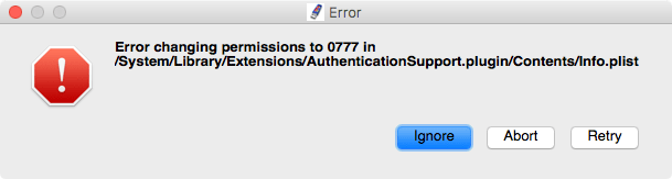 Error changing permissions in 0777 in /System/Library/Extensions/AuthenticationSupport.plugin/Contents.plist