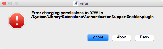 Error changing permissions in 077 in /System/Library/Extensions/AuthenticationSupportEnabler.plugin