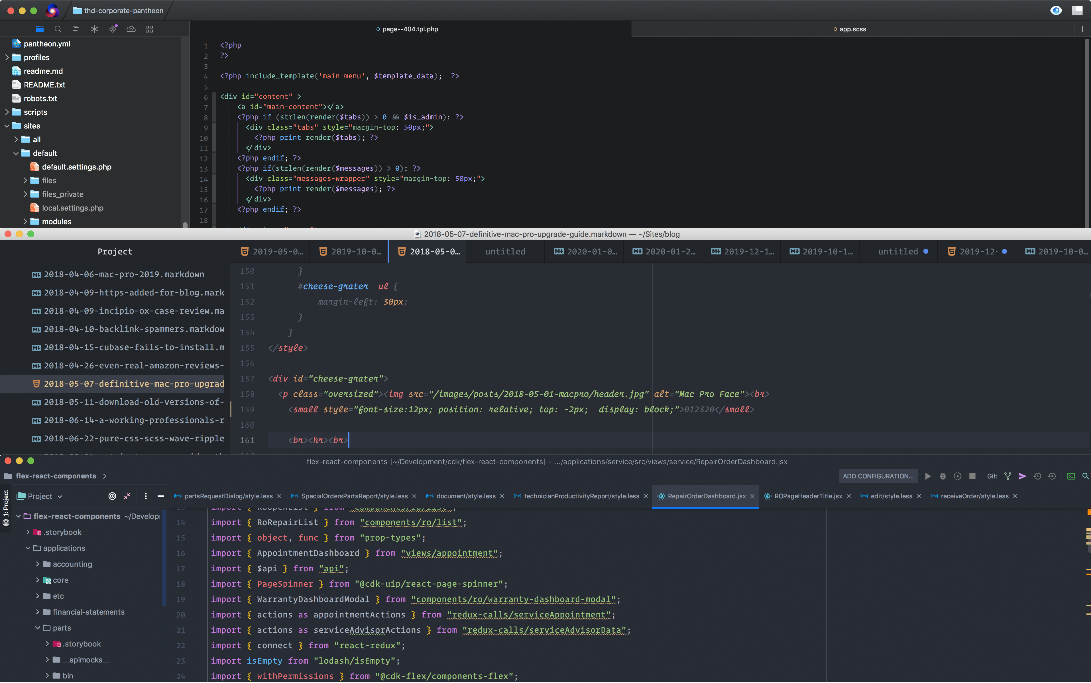 Screenshot of Nova top, Atom middle, Webstorm bottom