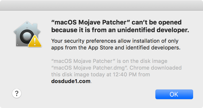 Mojave Patcher Can't be opened because it is from an unidentified developer